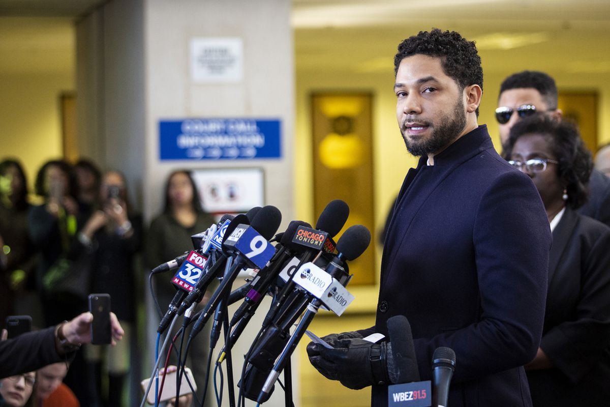 Jussie Smollett speaks to reporters after all charges against him were dropped.