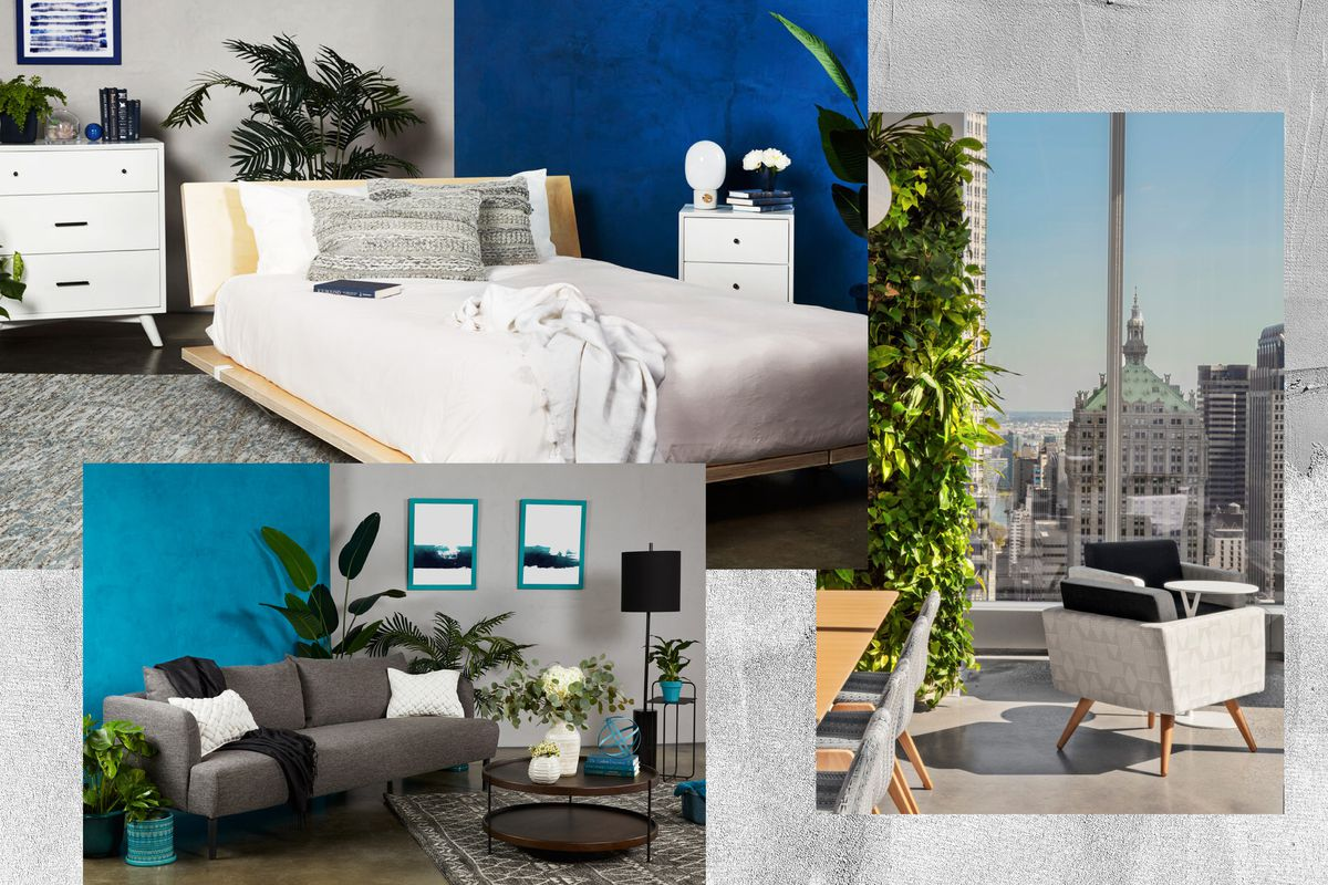 A collage of a bedroom wth a wood bed, gray rug, knitted pillows, and a cozy throw; a living room filled with plants and a thick gray rug; an office with floor-to-ceiling windows, a leafy living wall, a wood conference table, and gray armchairs