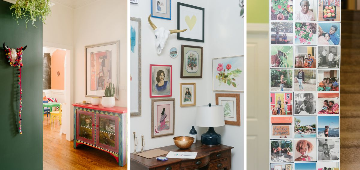Images from the entryway, a green wall, a gallery wall and an installation of instagram images.