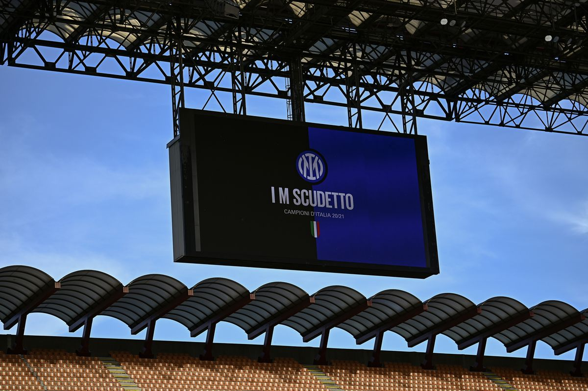 'I M Scudetto' is displayed on the scoreboard to celebrate...