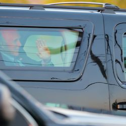 Vice President Mike Pence waves to supporters as he arrives in Salt Lake City on Monday, Oct. 5, 2020.