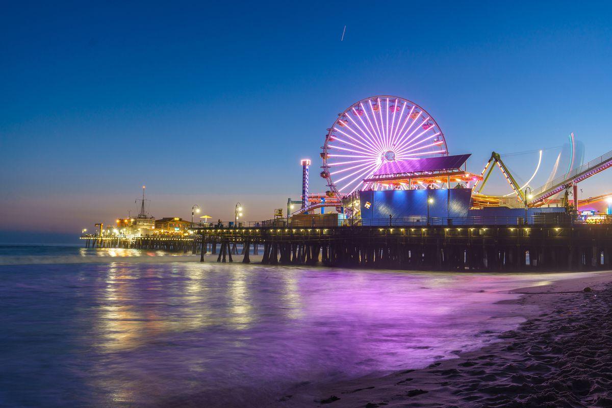 Santa Monica Pier at dusk, Santa Monica, California.