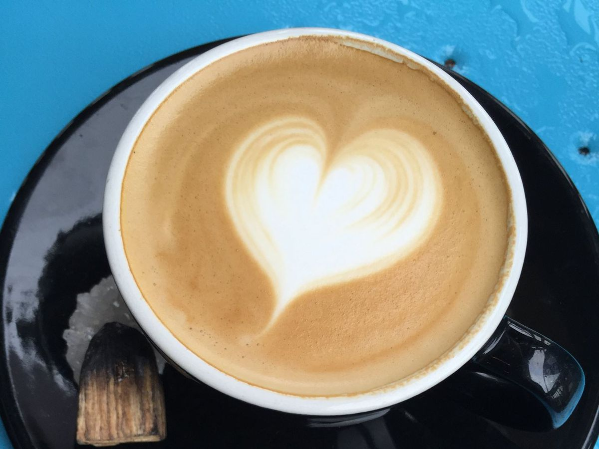 Coffee with a heart latte art at Epoch