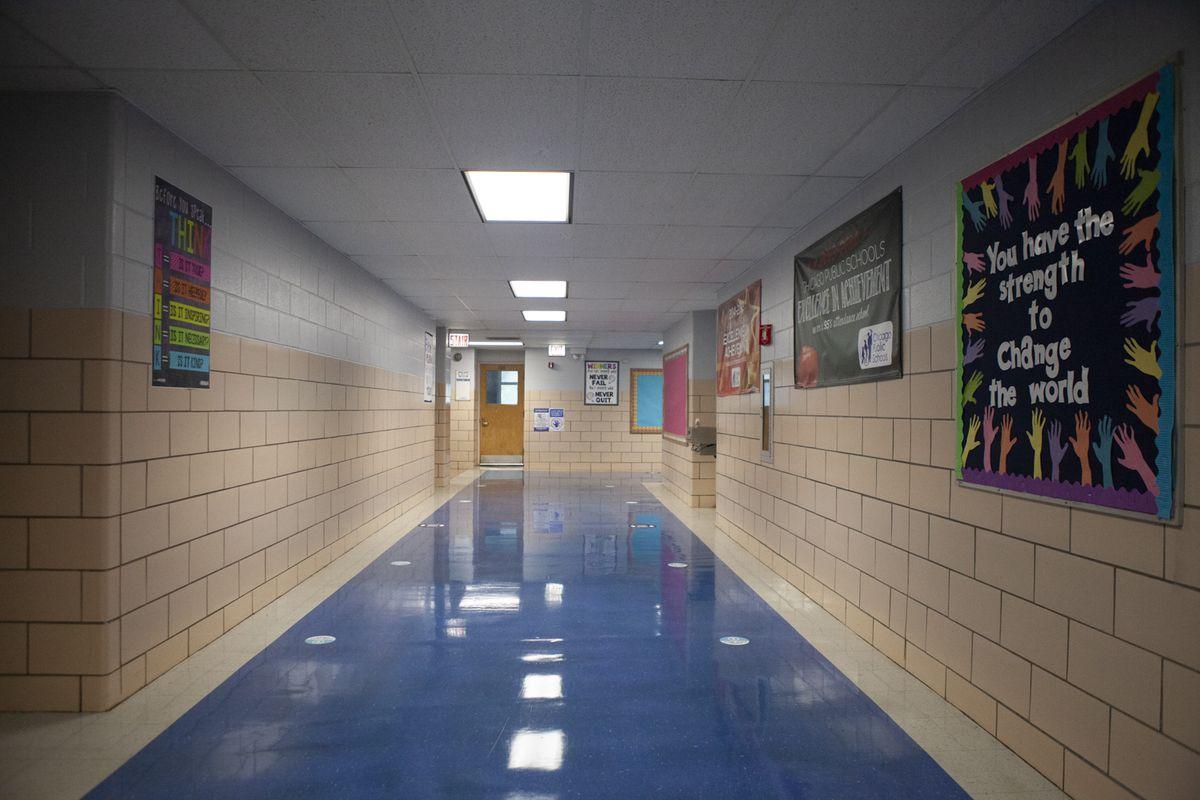 An empty hallway in a Chicago school.