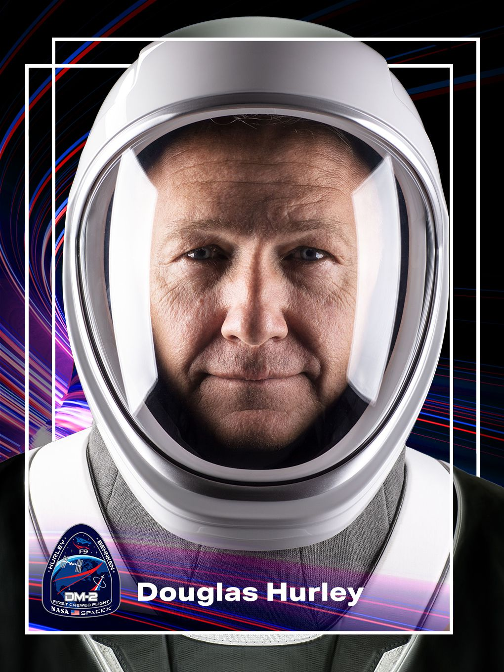 A graphic of astronaut Douglas Hurley made to look like the front of a trading card