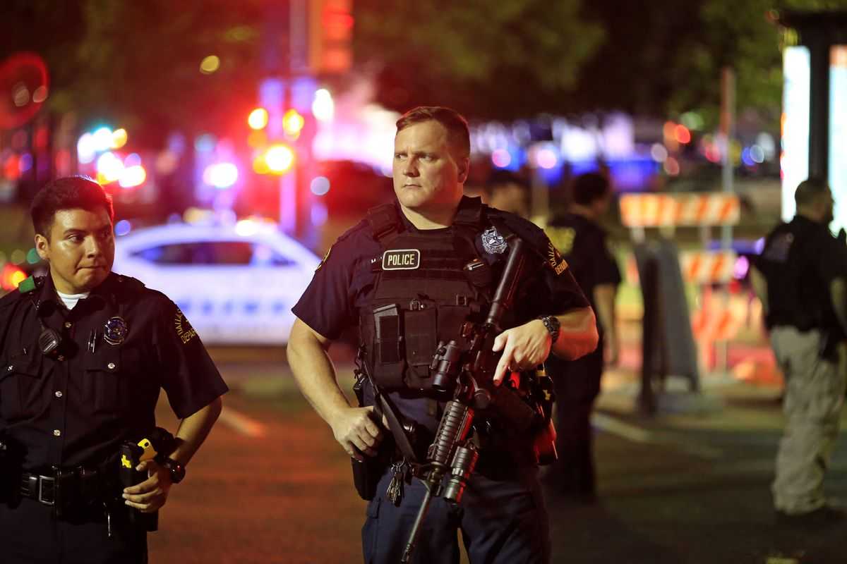 Police after the mass shooting in Dallas, Texas.