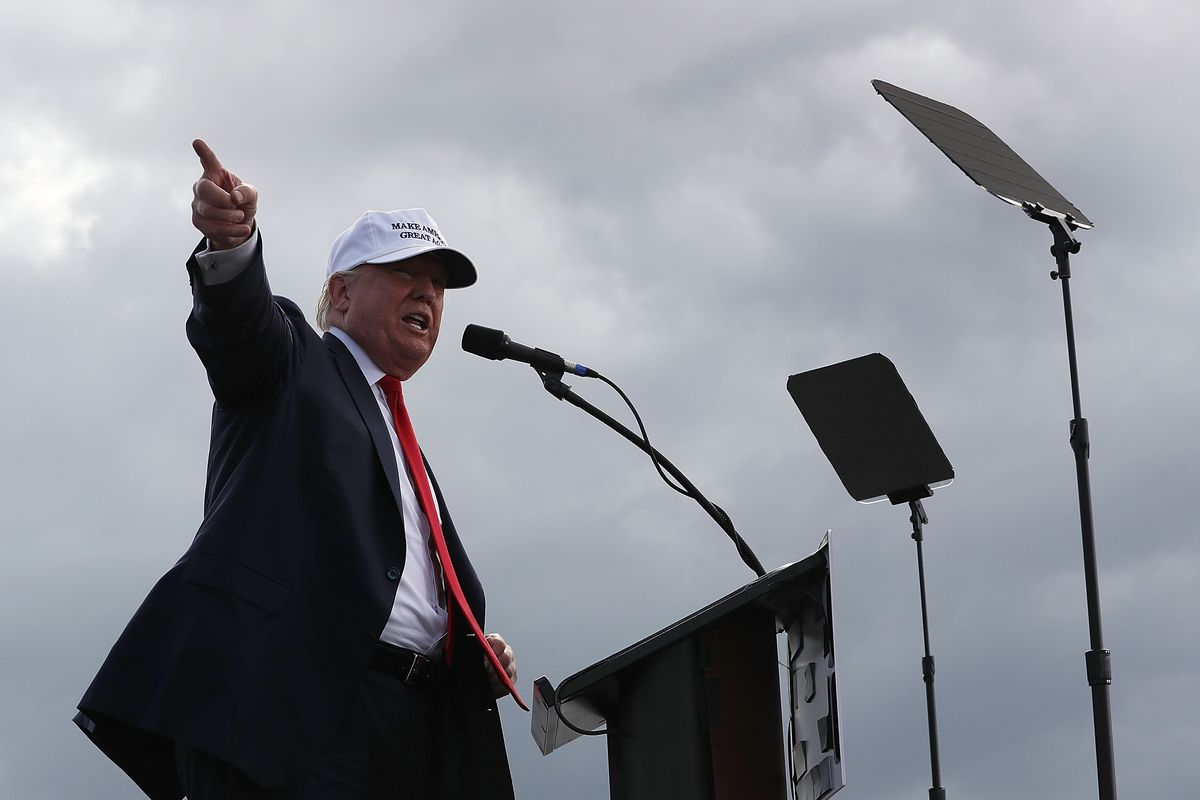 Then-GOP nominee Donald Trump delivers a speech on October 12, 2016 where he attacked his opponent Hillary Clinton's campaign for stolen emails released by WikiLeaks.
