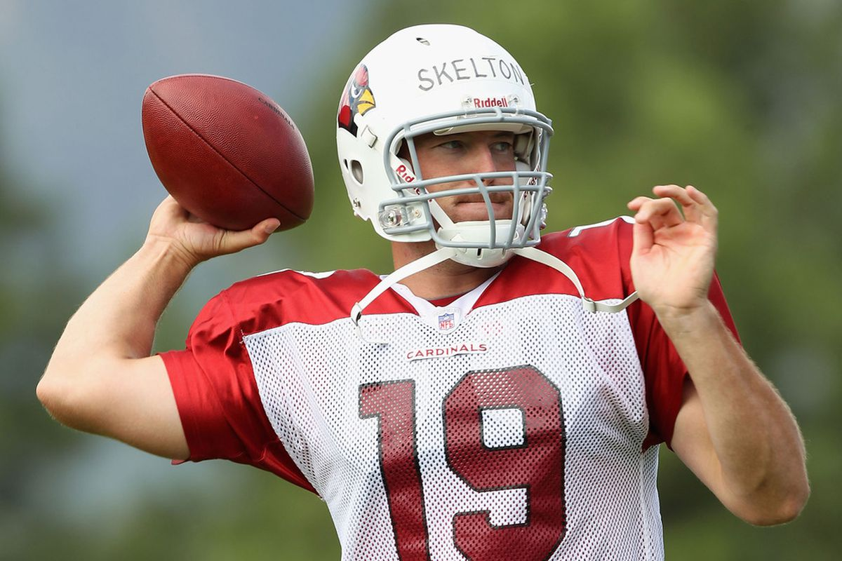 FLAGSTAFF, AZ - JULY 31:  Quarterback John Skelton #19 of the Arizona Cardinals throws a pass in the team training camp at Northern Arizona University on July 31, 2011 in Flagstaff, Arizona.  (Photo by Christian Petersen/Getty Images)