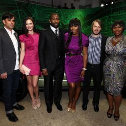 NEW YORK, NY - APRIL 19:  On hand to celebrate the 2012 Range Rover Evoque at Highline Stages were NY City Shapers from left to right: Founder & Editor of Coolhunting.com, Josh Rubin, Co-Founder of Marchesa, Georgina Chapman; NY Jets Star Cornerback,