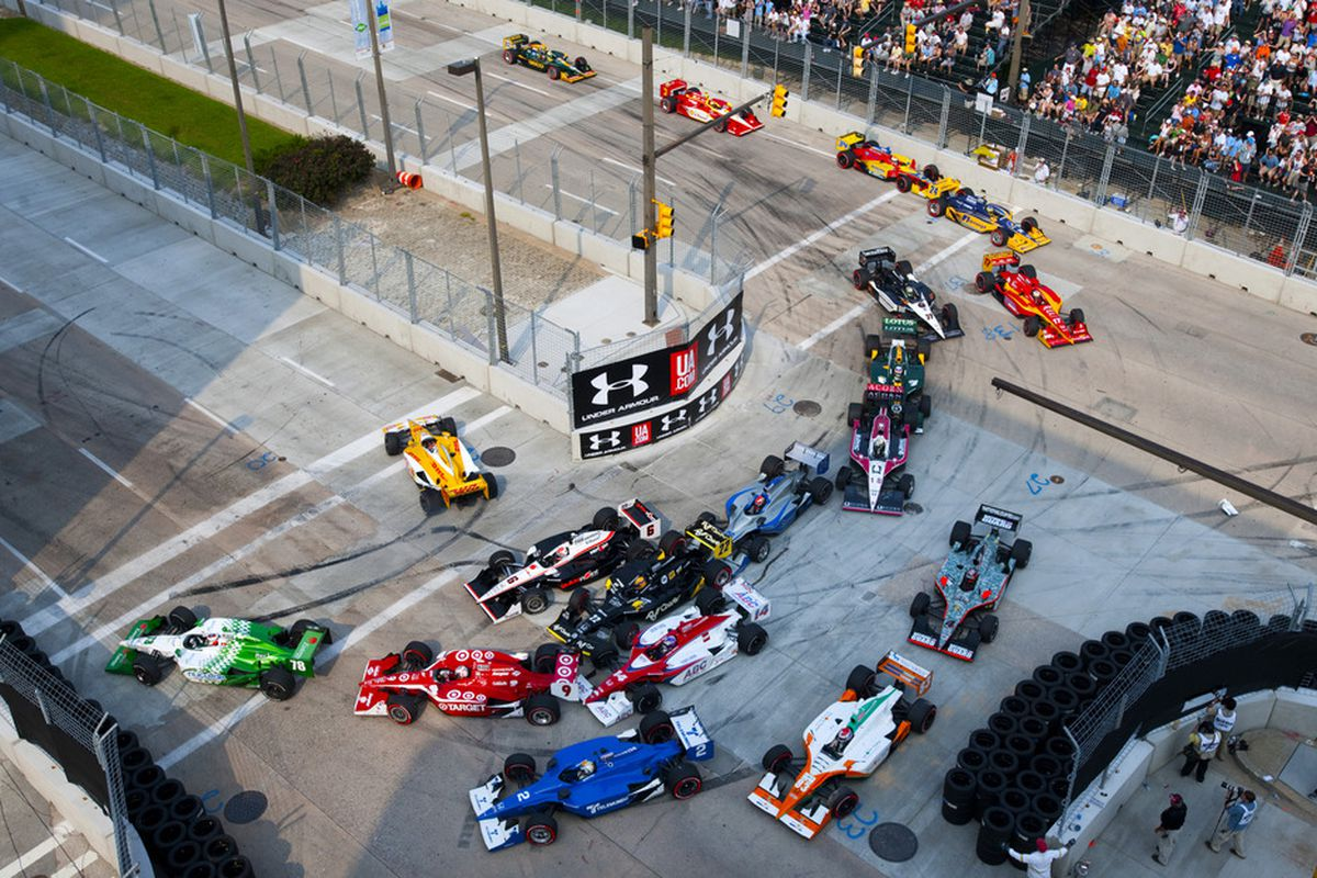 BALTIMORE - SEPTEMBER 4:  Cars are piled up in turn 3 after a restart during the IZOD IndyCar Series Baltimore Grand Prix on September 4, 2011 on the streets of Baltimore, Maryland.  (Photo by Robert Laberge/Getty Images)