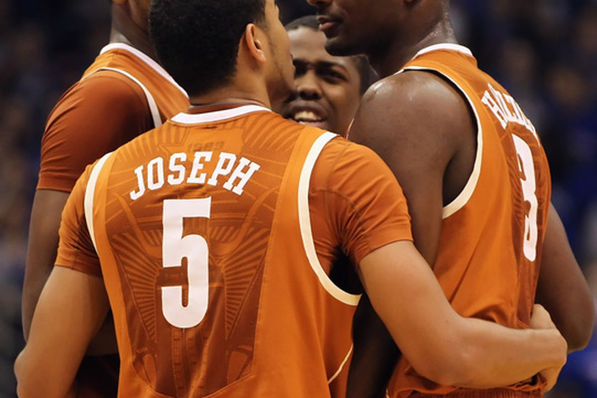 LAWRENCE KS - JANUARY 22: Texas Longhorns players huddle during the game against the Kansas Jayhawks on January 22 2011 at Allen Fieldhouse in Lawrence Kansas.  (Photo by Jamie Squire/Getty Images)