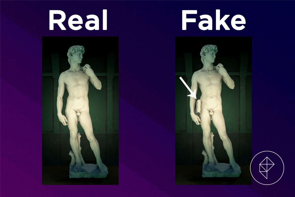 A comparison between the real and fake Gallant Statue