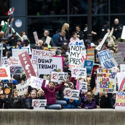 Hundreds of protesters can be seen from the Trump International Hotel & Tower, where President Donald Trump would attend a fundraiser after speaking at the the International Association of Chiefs of Police convention at McCormick Place, Monday morning, Oct. 28, 2019.