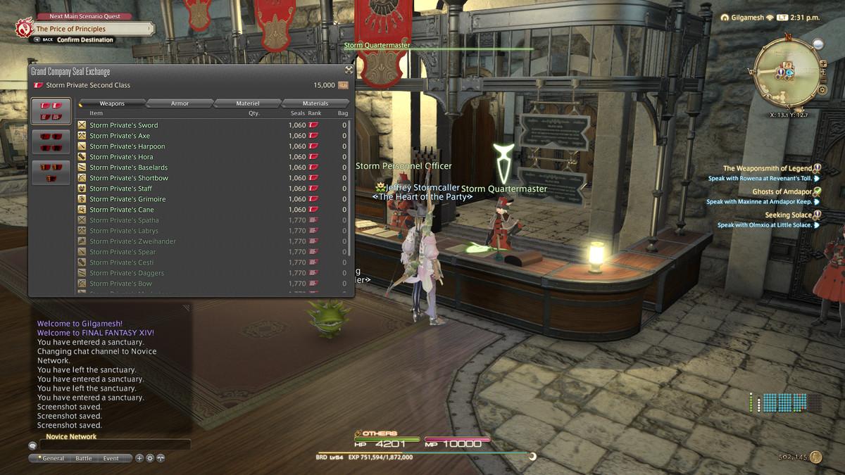 The Grand Company store in Final Fantasy 14
