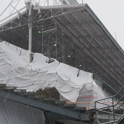 Work at the end of the right field upper deck