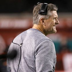 Utah Utes head coach Kyle Whittingham works the sideline during the game against the Colorado Buffaloes at Rice-Eccles Stadium in Salt Lake City on Saturday, Nov. 25, 2017.
