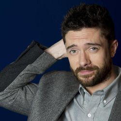 """In this April 16, 2012 photo, actor Topher Grace poses for a portrait in New York. Grace stars in the off Broadway play """"Lonely, I'm Not"""" and in an independent film called """"The Giant Mechanical Man."""""""