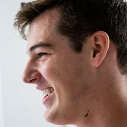 Sweat beads on the forehead of Elder Tanner McKee, a missionary for The Church of Jesus Christ of Latter-day Saints, after a workout at his home in Paranaguá, Brazil, on Monday, June 3, 2019.