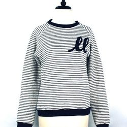 """<a href=""""http://trilliumchicago.com/index.php?product=276SS+SS14&c=60"""">Eden peacoat striped sweatshirt</a>, $128"""
