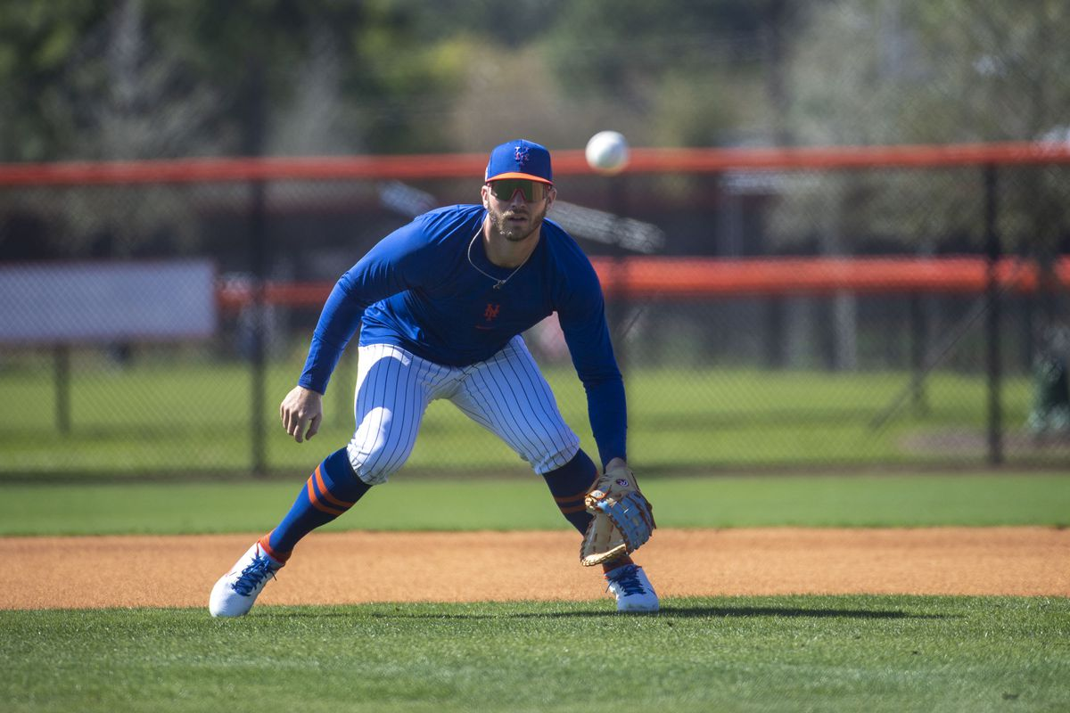 New York Mets Pete Alonso takes infield practice during spring training workout