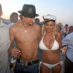 And the bride wore a bikini! Pamela Anderson opted for a barely-there two-piece (and sea captain's hat, natch) to marry Kid Rock on July 29th, 2006.