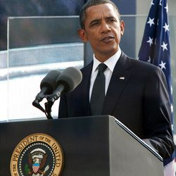 In this Sept. 11, 2011 file photo, President Barack Obama delivers his remarks during 10th anniversary ceremonies at the Sept. 11 memorial in New York. This year's Sept. 11 anniversary in New York will be the first in which politicians are excluded from speaking at the commemoration ceremony at ground zero.