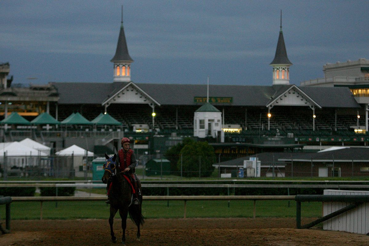LOUISVILLE, KY - APRIL 28: A horse walks off of the track on a morning of rain during the training for the 135th Kentucky Derby at Churchill Downs on April 28, 2009 in Louisville, Kentucky. (Photo by Andy Lyons/Getty Images)