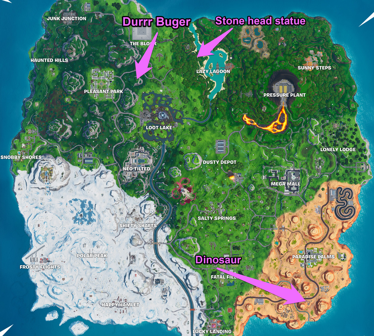 Fortnite's map with the locations for this challenge marked
