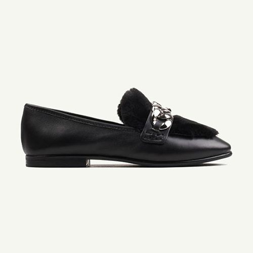 Black embellished loafers with a chain link detailing.