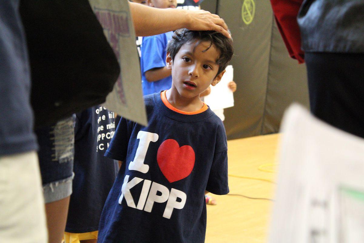 A KIPP Montbello Elementary school student at a Denver Public Schools board meeting.