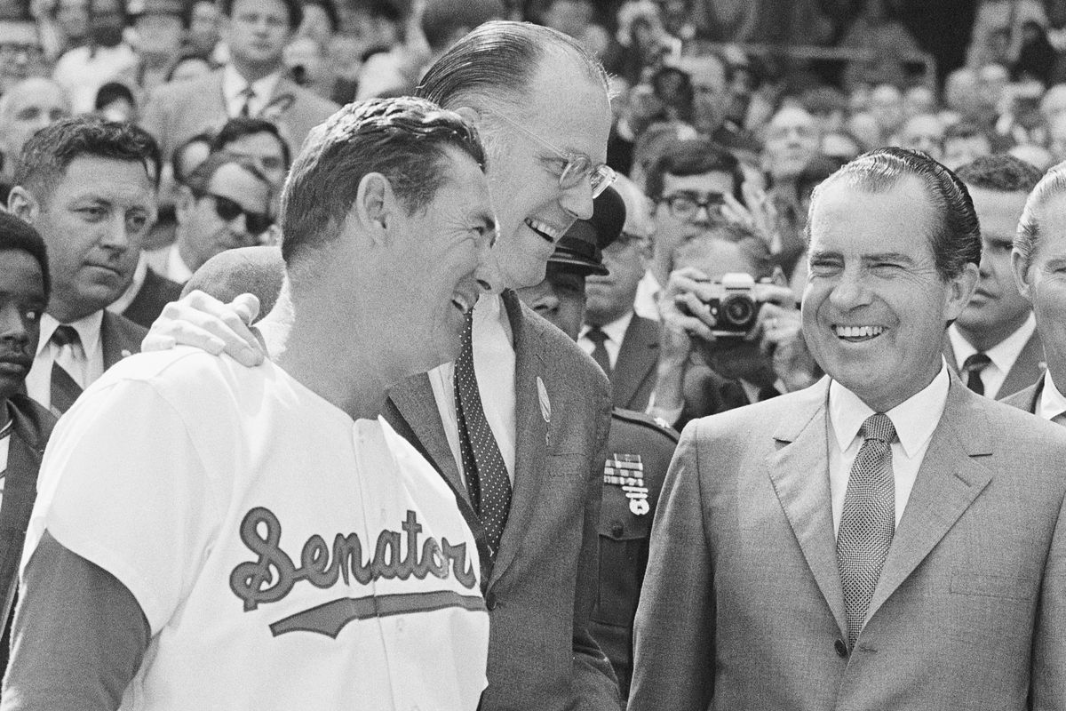 President Richard Nixon and Ted Williams Smiling
