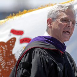 Supreme Court nominee Merrick Garland, a Niles West alumnus, speaks at Niles West's 2016 commencement ceremony Sunday in Skokie.   Tim Boyle/For the Sun-Times