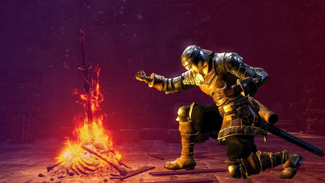 An armored knight kneels at a bonfire