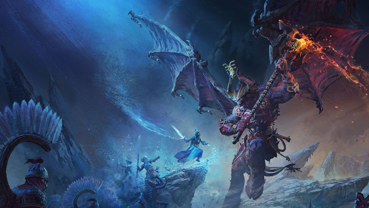 A greater daemon of Khorne leaps into the frame, the Tsarina perched atop a rocky outcrop and the forces of Kislev arrayed around her.
