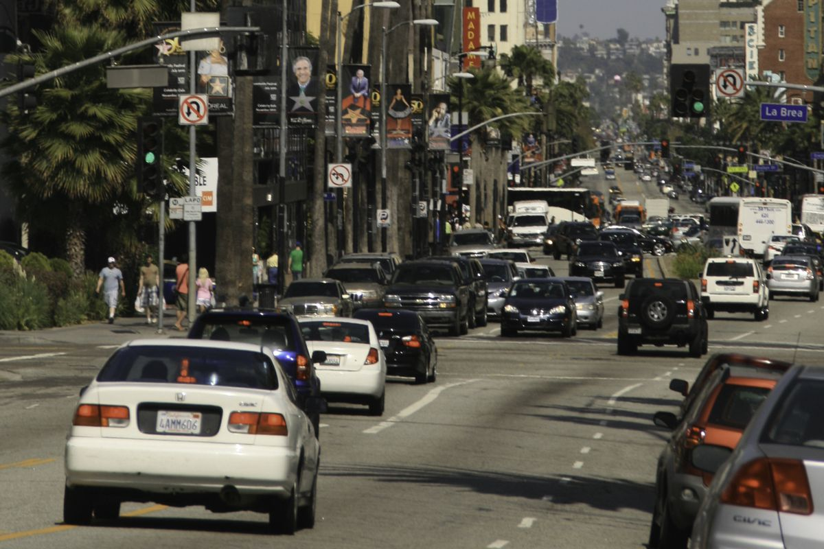Cars traveling on Hollywood Boulevard