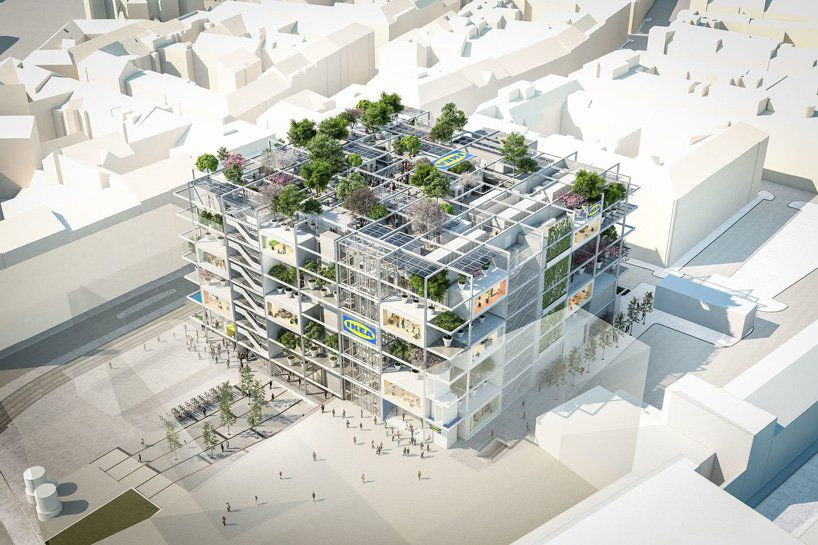 Aerial rendering of a building with open facades and terraces filled with trees.