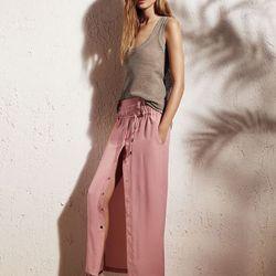 Knit basic tank top, $40; Long drawstring skirt, $54