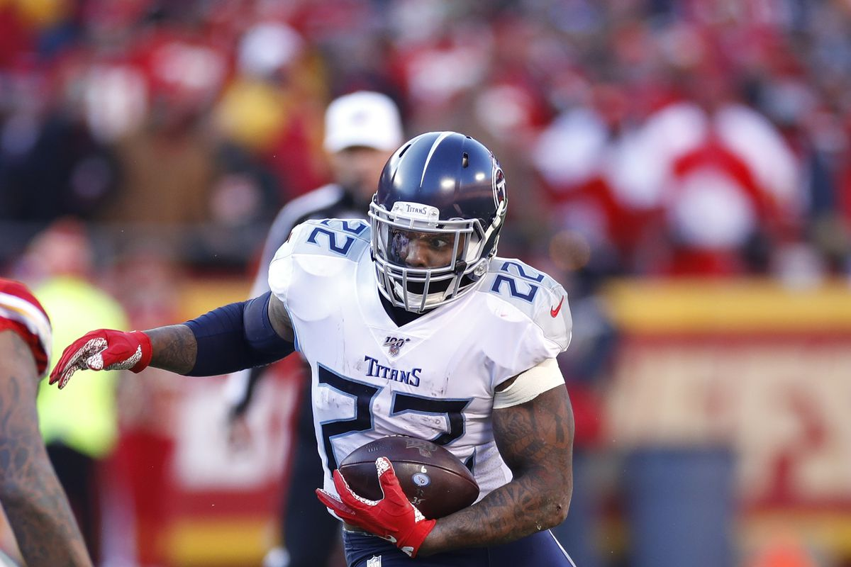 Derrick Henry of the Tennessee Titans runs with the ball during the AFC Championship game against the Kansas City Chiefs at Arrowhead Stadium on January 19, 2020 in Kansas City, Missouri.