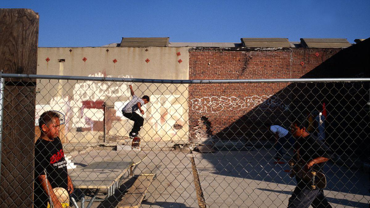 Kids skateboard in a makeshift skatepark in East Los Angeles. Gilles  Mingasson/Getty Images