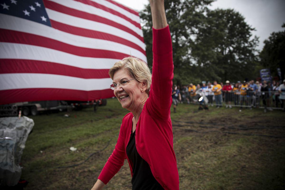 Sen. Elizabeth Warren (D-MA) greets guests at the Polk County Democrats' Steak Fry.