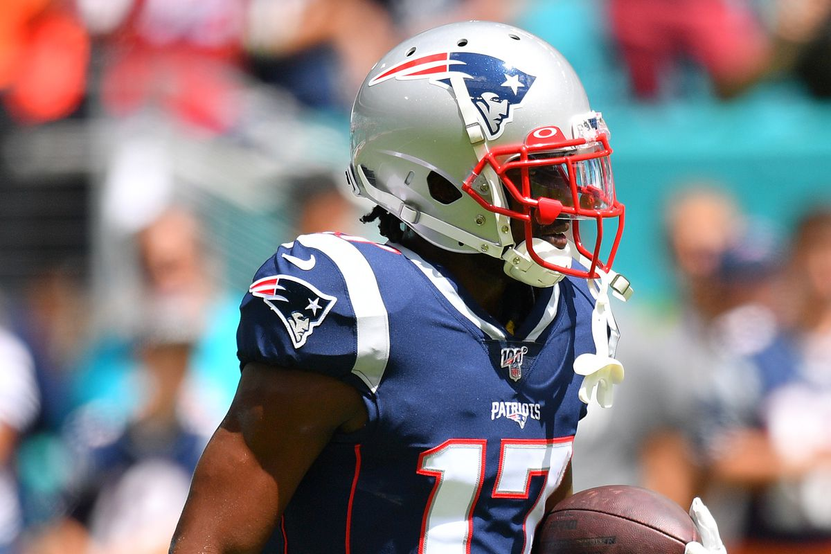 Antonio Brown of the New England Patriots warms up prior to the game against the Miami Dolphins at Hard Rock Stadium on September 15, 2019 in Miami, Florida.