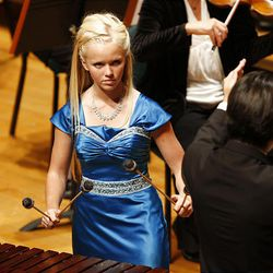Camille Johnson plays Ney Rosauro's Concerto for Marimba and Orchestra during the 50th anniversary Salute to Youth concert Tuesday in Salt Lake City.