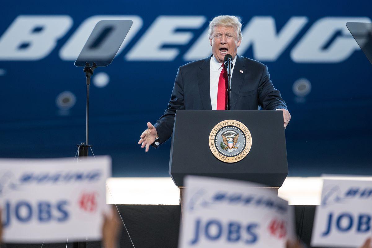 Donald Trump Visits S. Carolina Boeing Plant For Debut Of 787-10 Dreamliner