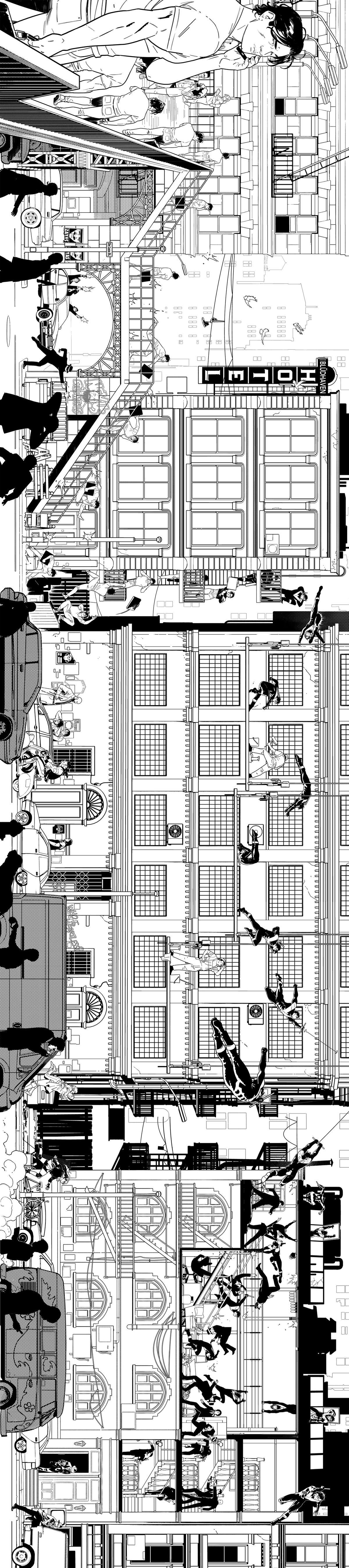 Panoramic comic book art