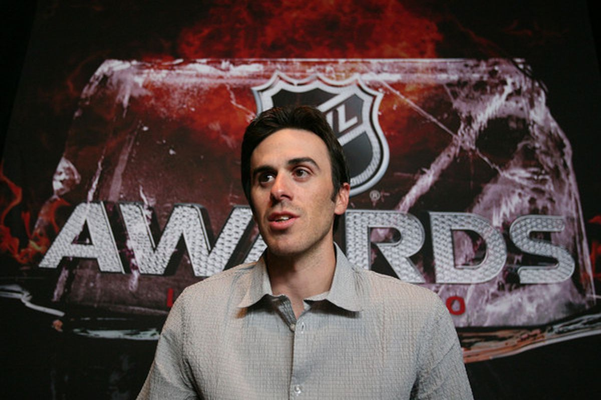 LAS VEGAS - JUNE 22: Ryan Miller of the Buffalo Sabres is interviewed by the media at the Palms Casino Resort on June 22, 2010 in Las Vegas, Nevada.  (Photo by Bruce Bennett/Getty Images)