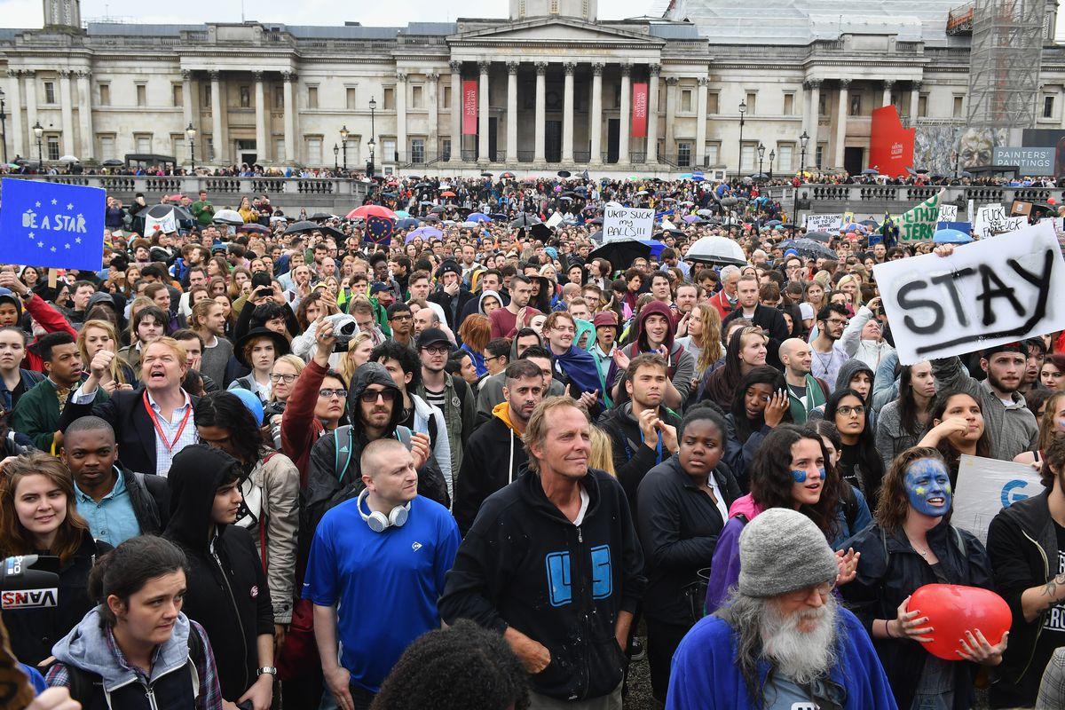 A crowd in London's Trafalgar Square protesting the Brexit vote