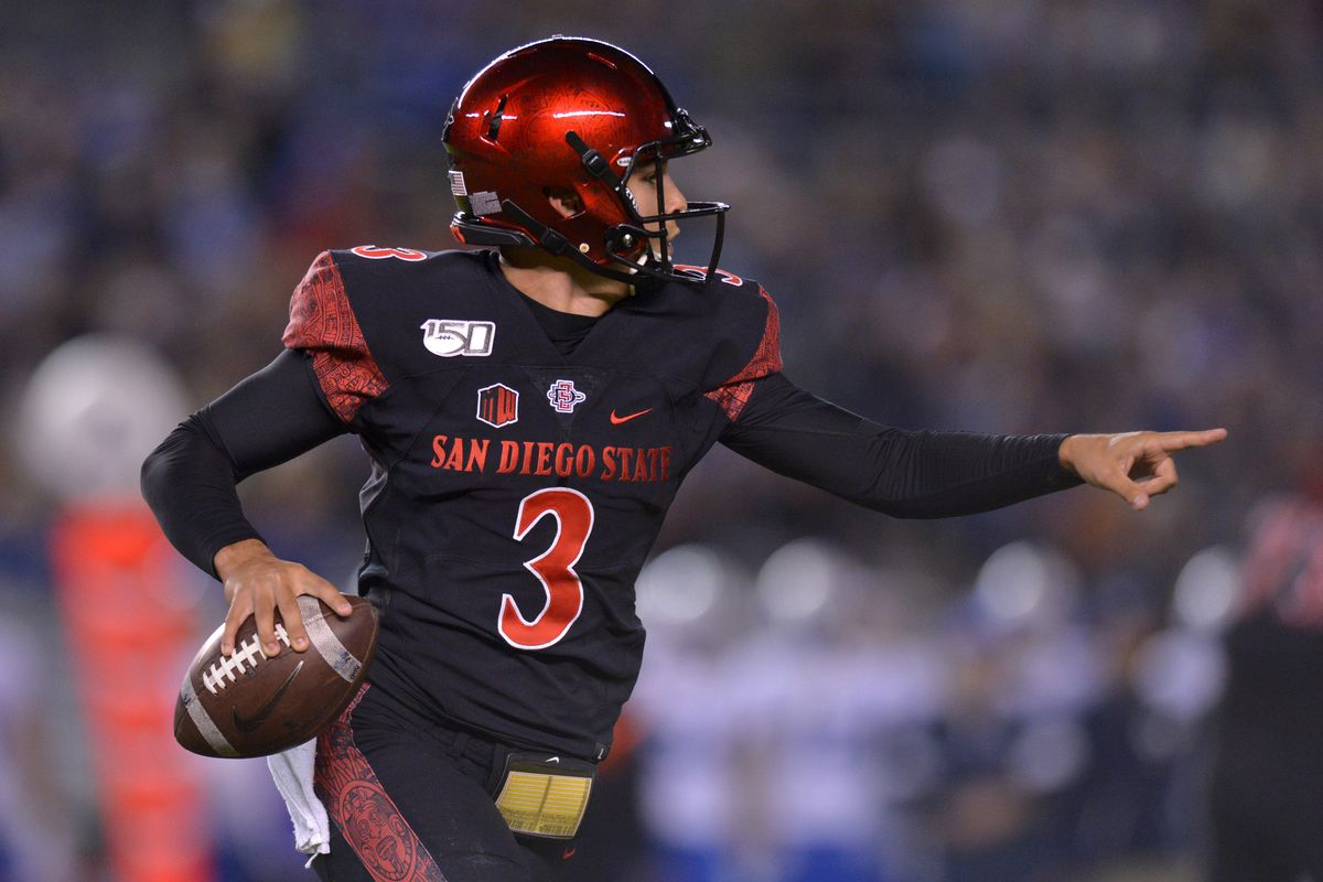 San Diego State Aztecs quarterback Carson Baker (3) rolls out to pass against the Brigham Young Cougars during the first quarter at SDCCU Stadium.