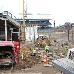Another view of the Gate Q area with the suspended concrete transfer bucket
