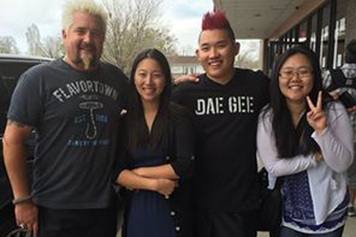 Filming an episode of Diners, Drive-Ins, and Dives