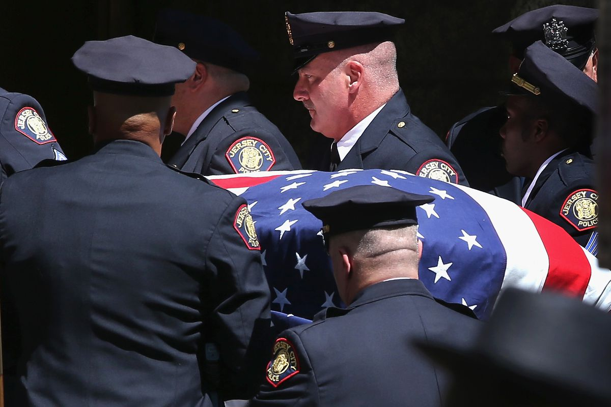 A funeral for a Jersey City police officer killed in the line of duty.